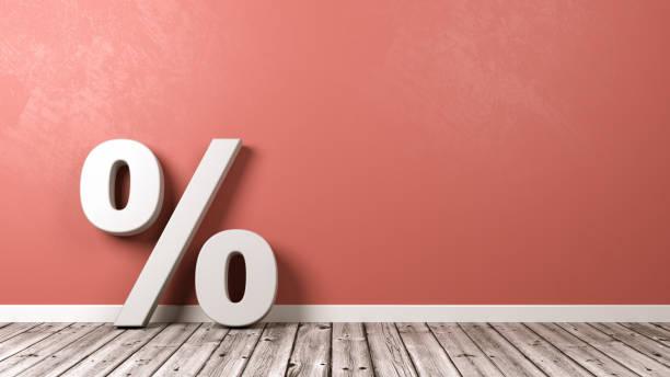 Símbolo de sinal de porcentagem com Copyspace - foto de acervo
