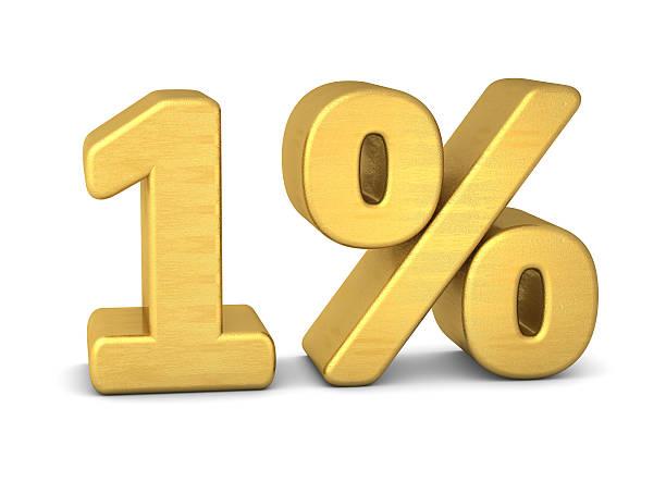 1 percent symbol 3d gold - foto de acervo