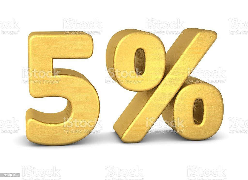 5 percent symbol 3d gold stock photo