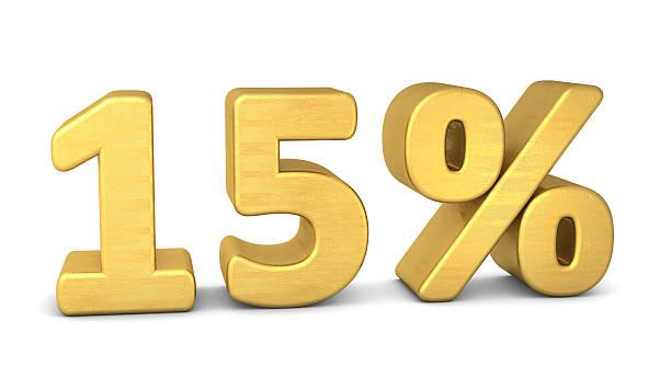 15 percent symbol 3d gold stock photo