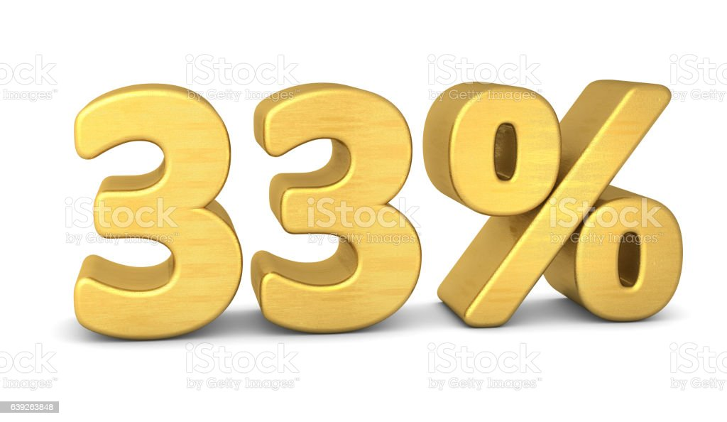 33 percent symbol 3d rendering gold stock photo