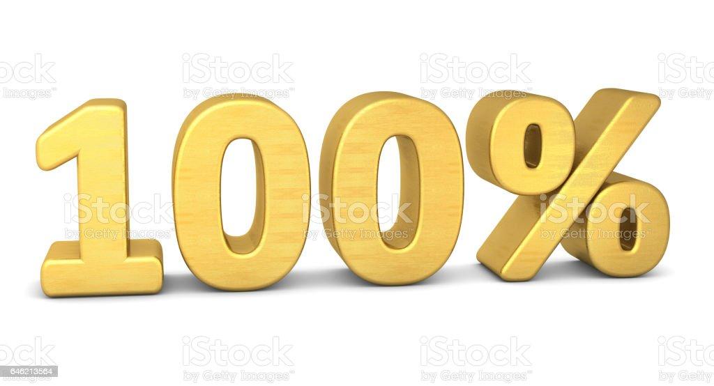 100 percent symbol 3d rendering gold stock photo