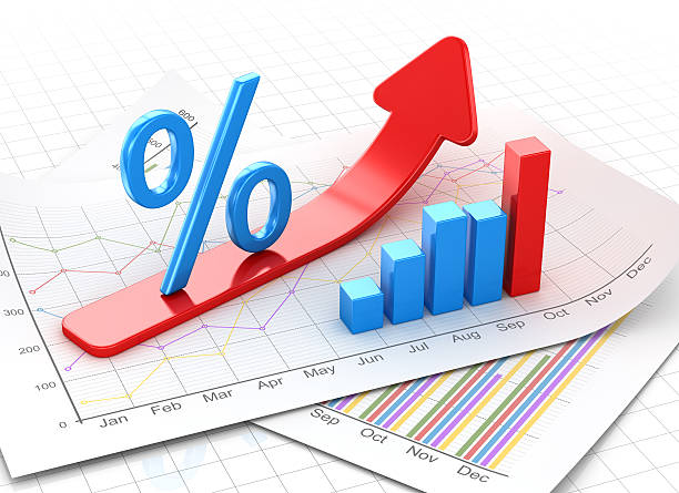 percent symbol and business chart on financial paper - interest rate stock photos and pictures