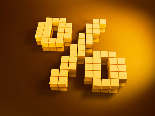 Percent Symbol Golden Cubes 3D Render of a pixelated percent symbol built with golden cubes. Very high resolution available! Use it for Your own composings!Related images: golden cube stock pictures, royalty-free photos & images