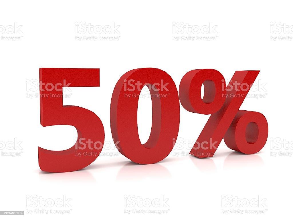 50 percent symbol,3D Rendering - foto de acervo