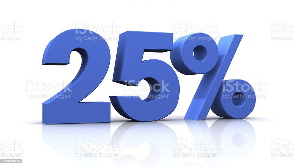percentage, 25% stock photo