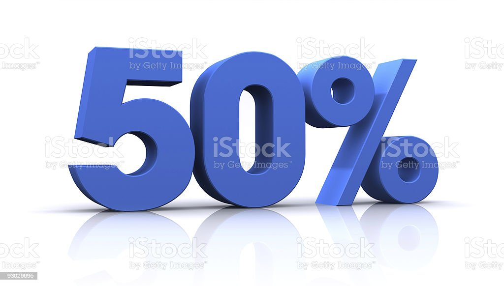 percentage, 50% royalty-free stock photo