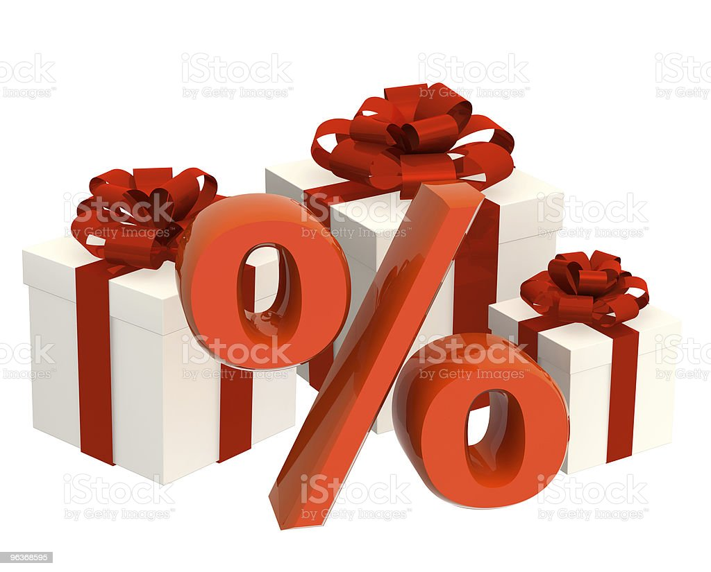 Percentage and gifts royalty-free stock photo