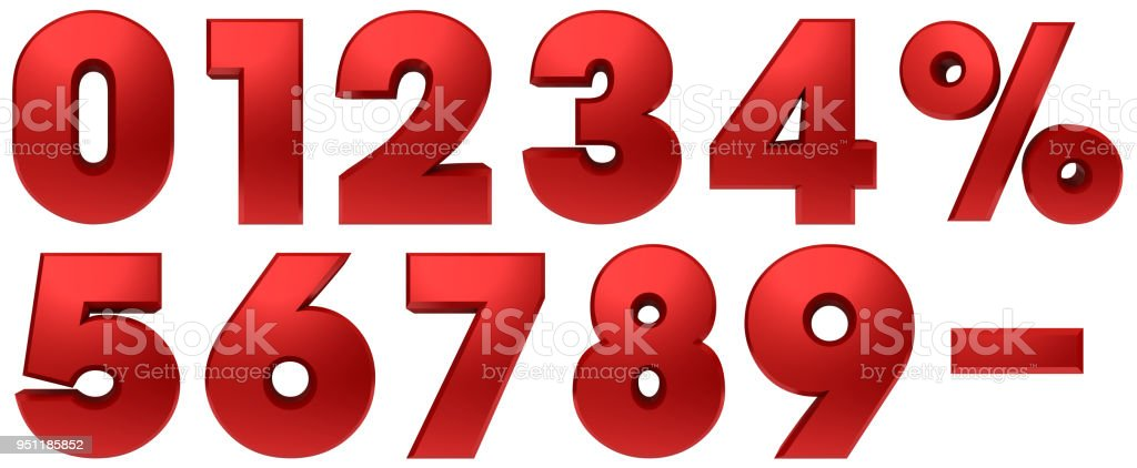 percentage icon percent sign 3d red set numbers discount savings interest rate symbols template cut out white background royalty-free stock photo