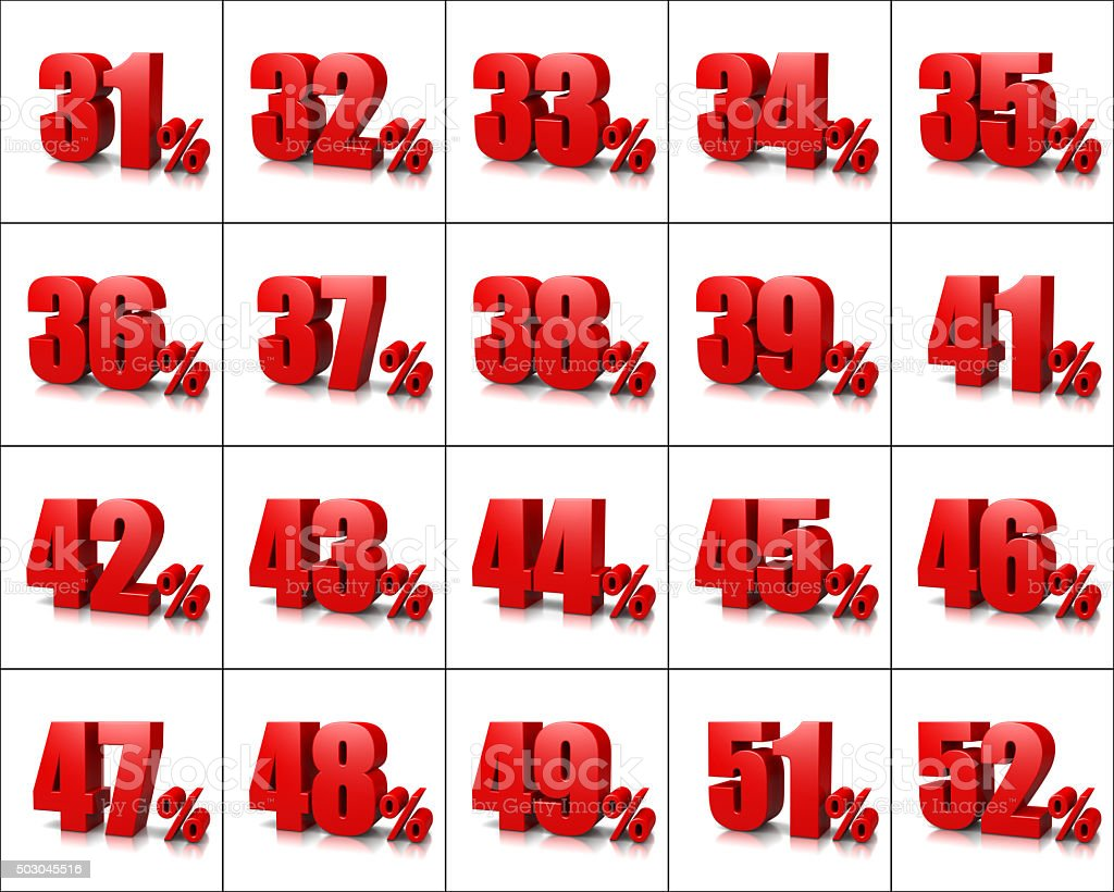 Percentage Numbers Series 3 stock photo