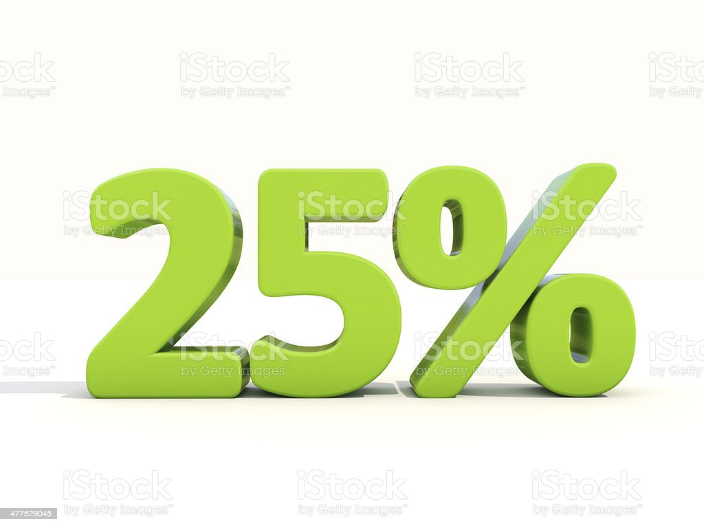 25% percentage rate icon on a white background stock photo