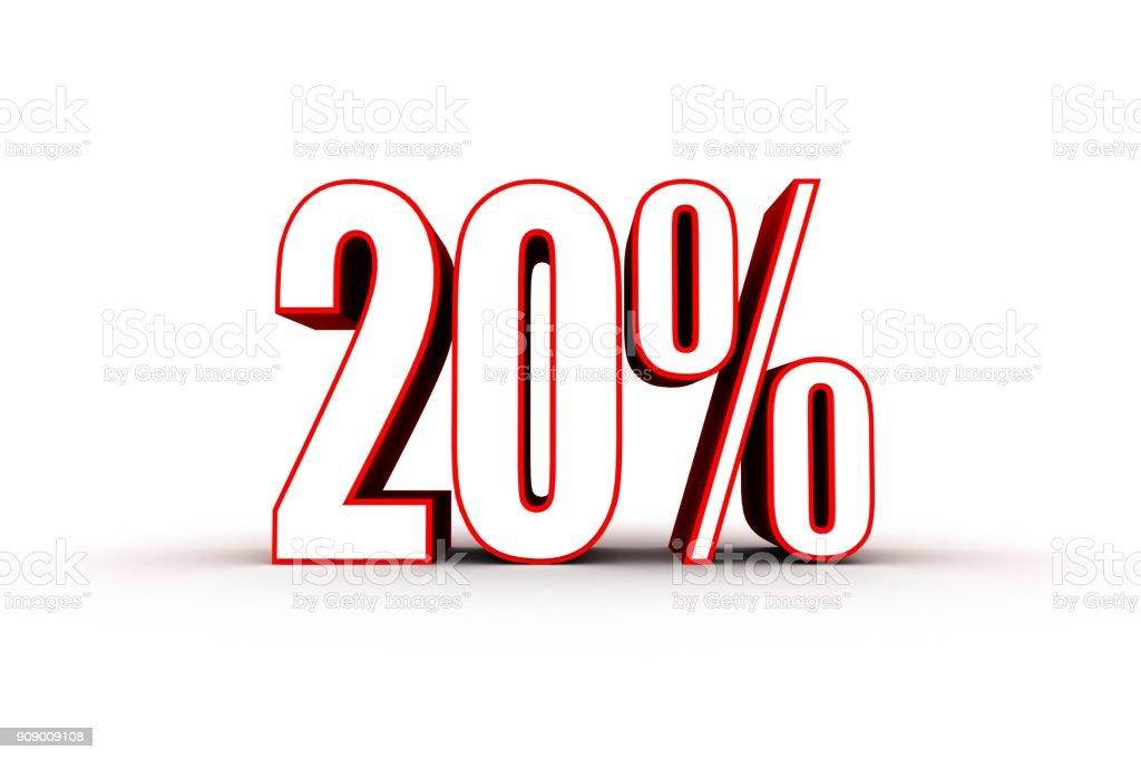 Percentage sign, 20 percent stock photo