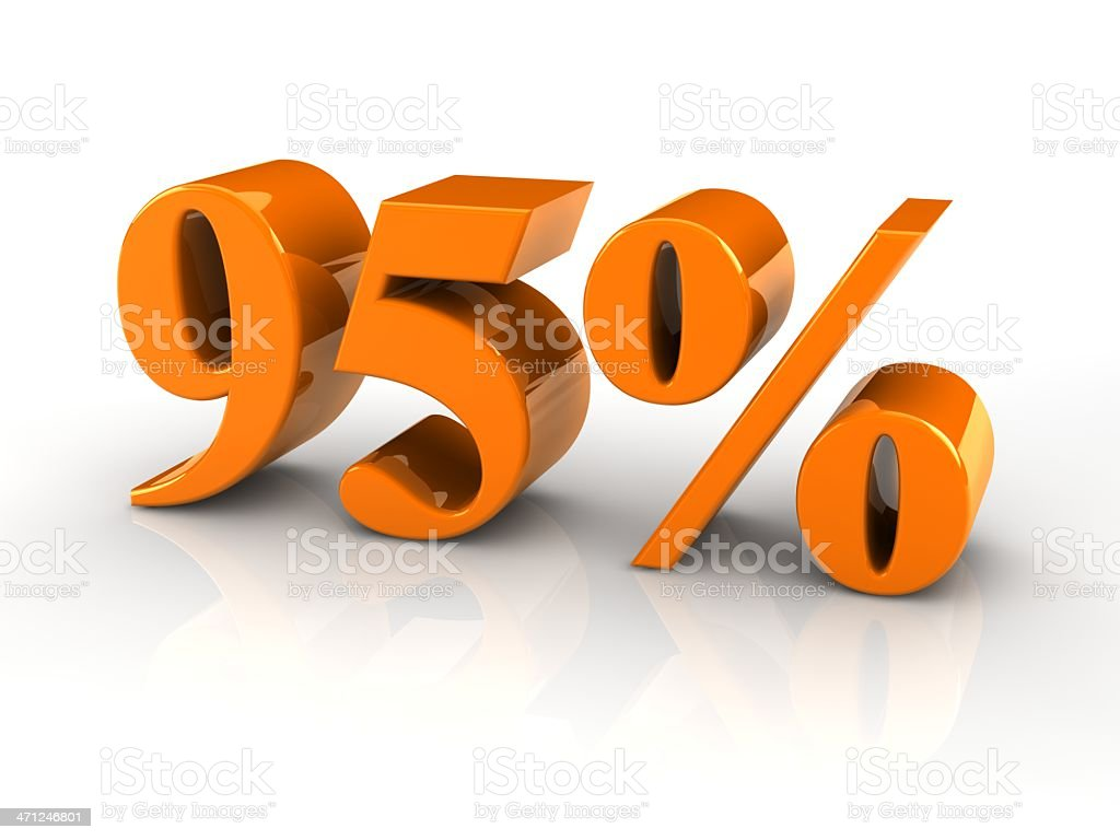 percentage sign 95% stock photo