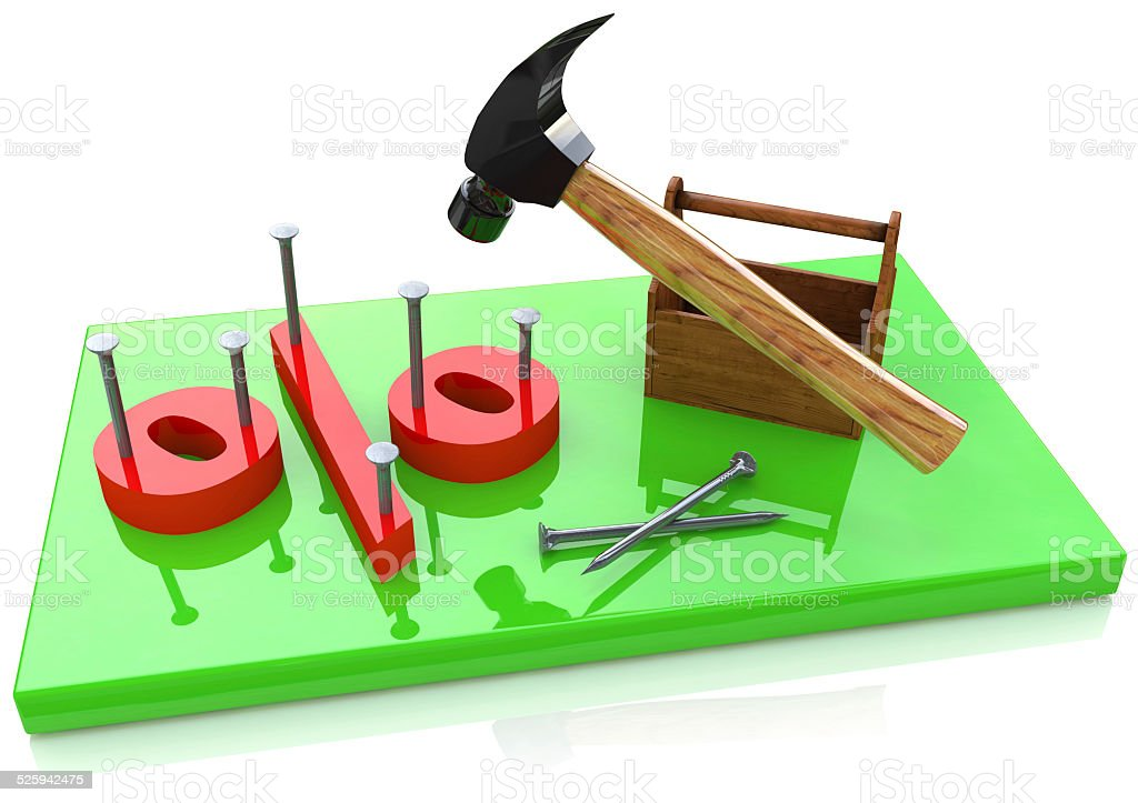 Percentage sign and hammer stock photo