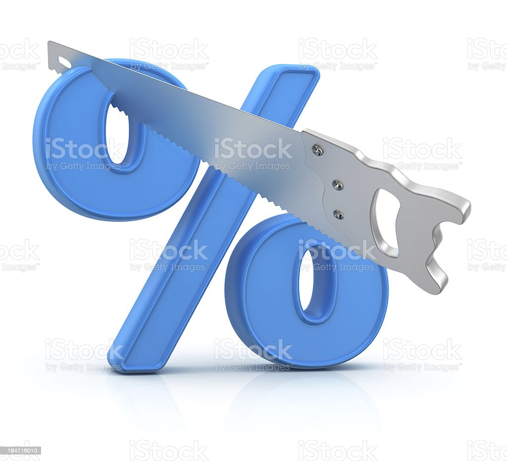 SALE - Percentage Sign and Saw royalty-free stock photo