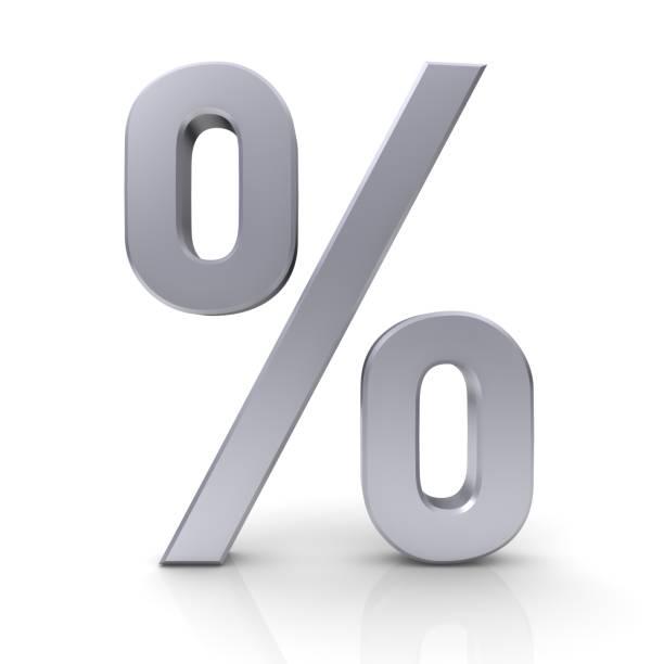 percentual taxa de juros de desconto venda símbolo de porcentagem 3d prata preço isolado rótulo ícone assinar - foto de acervo