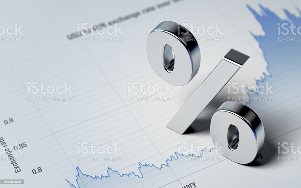 Percentage Sign on A Blue Financial Graph stock photo