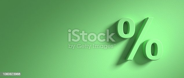 Percentage sign on bright green wall background, banner, copy space. 3d illustration