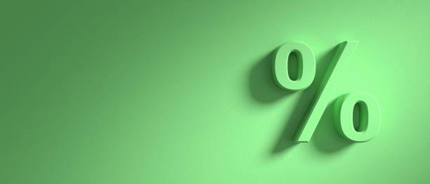 Sinal de porcentagem no fundo da parede verde, banner, cópia espaço. ilustração 3D - foto de acervo