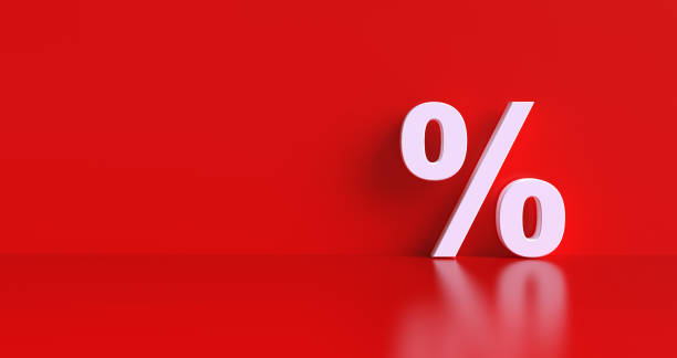 Percentage sign on red wall background, banner, copy space. Percentage sign on red wall background, banner, copy space. cheap stock pictures, royalty-free photos & images