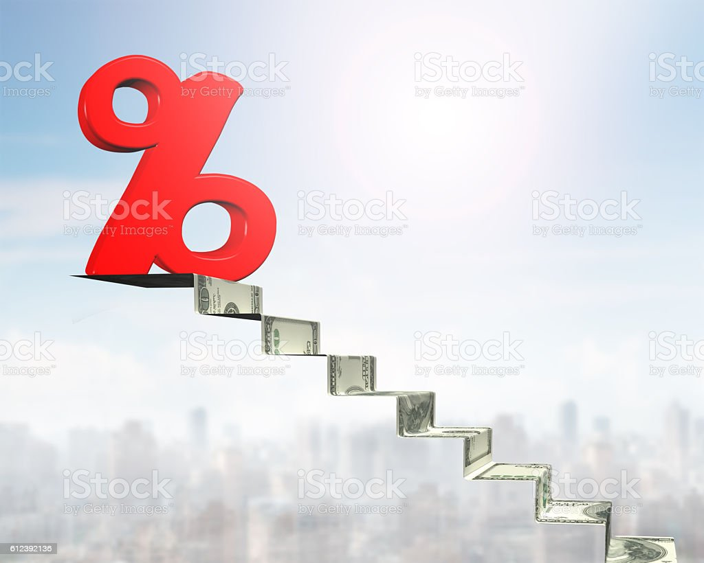 Percentage sign on top of money stairs – Foto