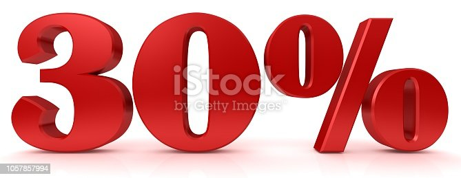 istock 30 % percentage sign red 3d rendering percent symbol interest rate discount sale icon price reduction tag label yielgs profits earnings graphic isolated on white background 1057857994