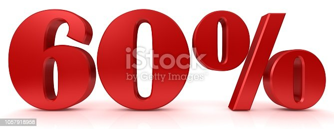 istock 60 % percentage sign red 3d rendering percent symbol interest rate discount sale icon price reduction tag label yields profits earnings graphic isolated on white background 1057918958