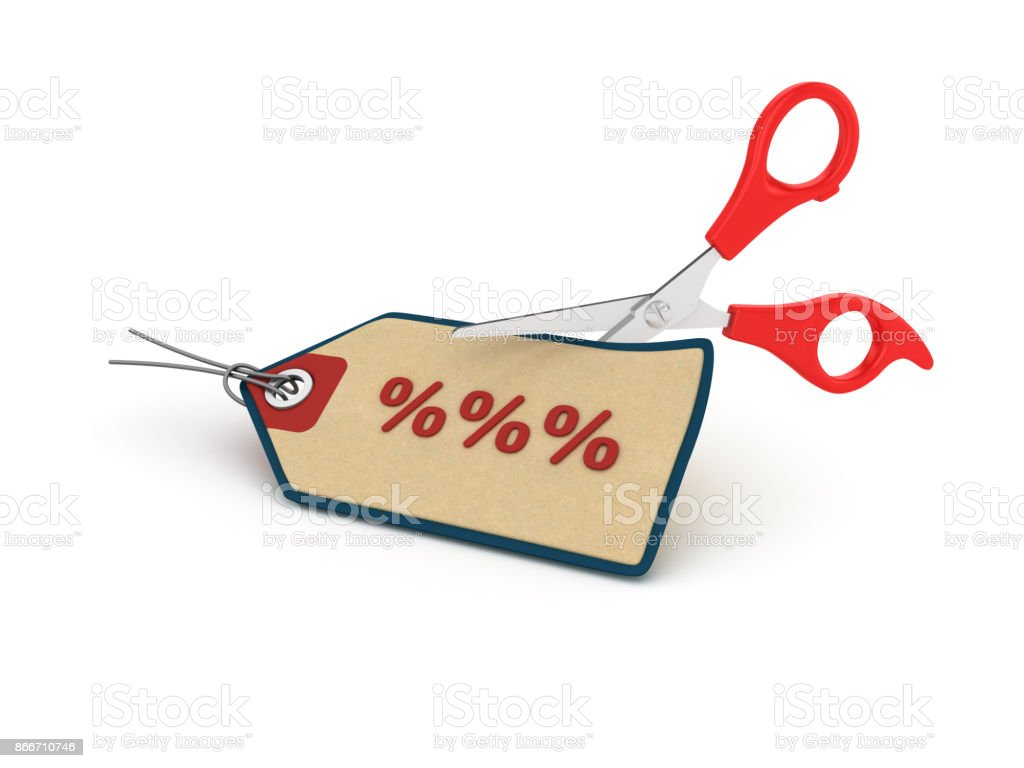 Percentage Sign Shopping Tag with Scissors - 3D Rendering stock photo