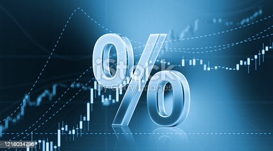 890153720 istock photo Percentage Sign Sitting in Front of Bar Graph - Stock Market and Finance Concept 1216034795