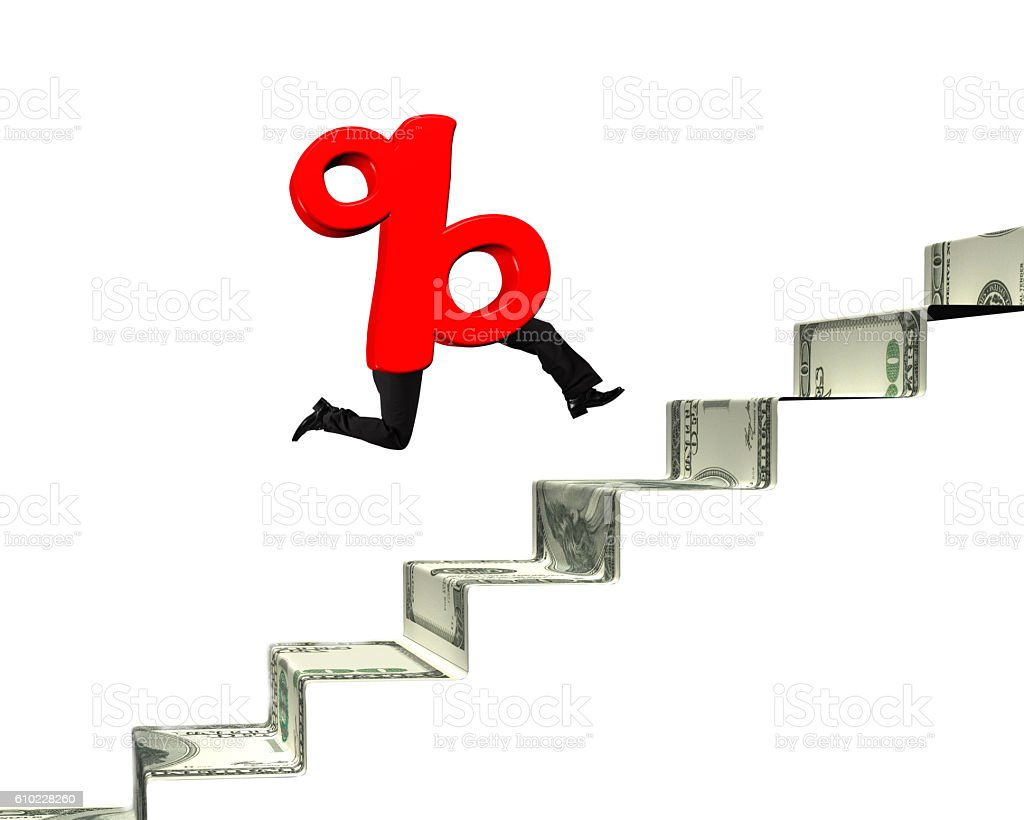 Percentage sign with human legs run on money stairs stock photo