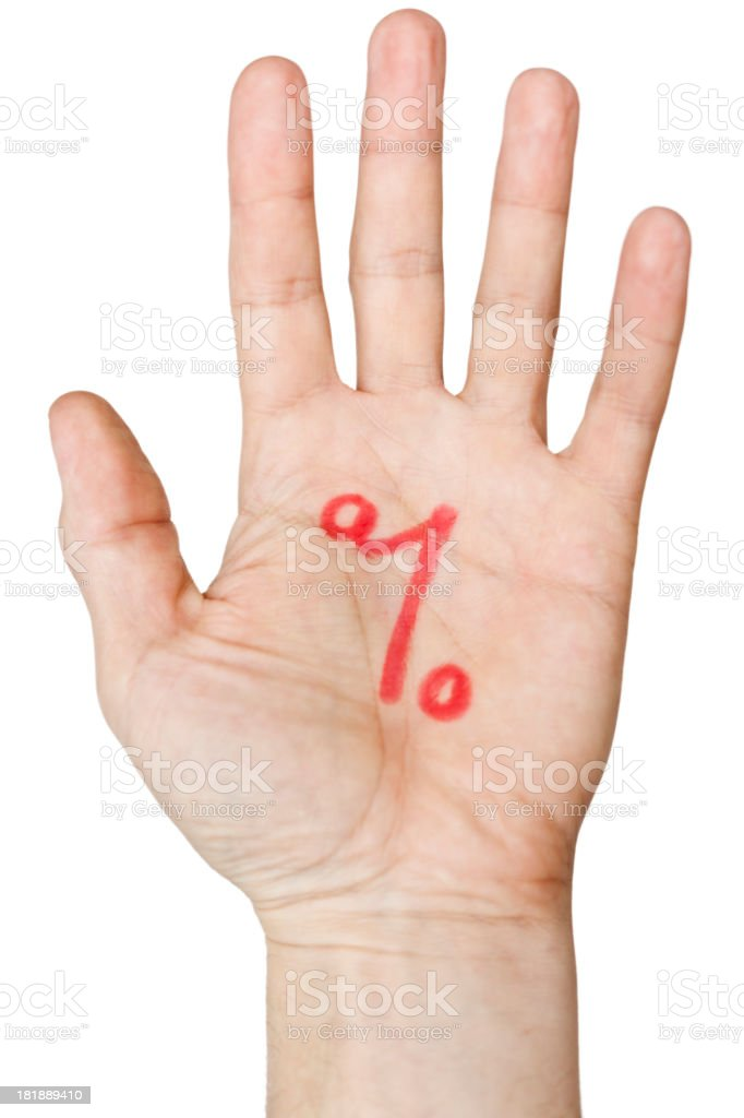 Percentage sign written on palm of a hand. White background. royalty-free stock photo
