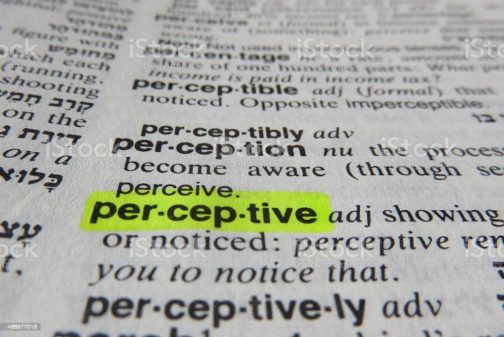 Perceptive dictionary definition stock photo