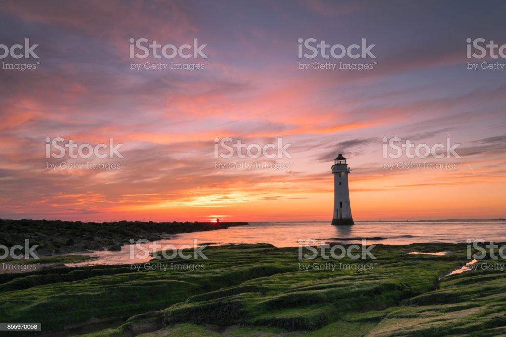 Perch Rock Lighthouse New Brighton stock photo