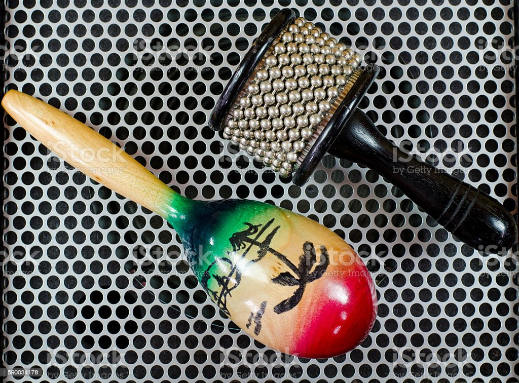 Percussion Accessories  on Metal surface stock photo