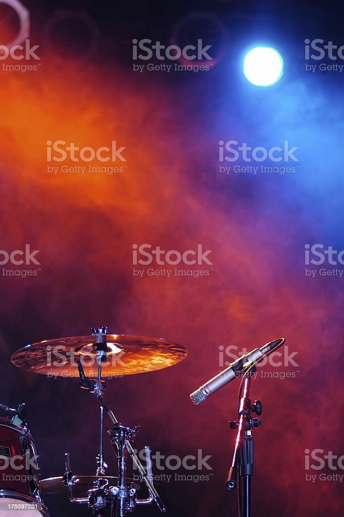 percussion and microphone at the scene stock photo