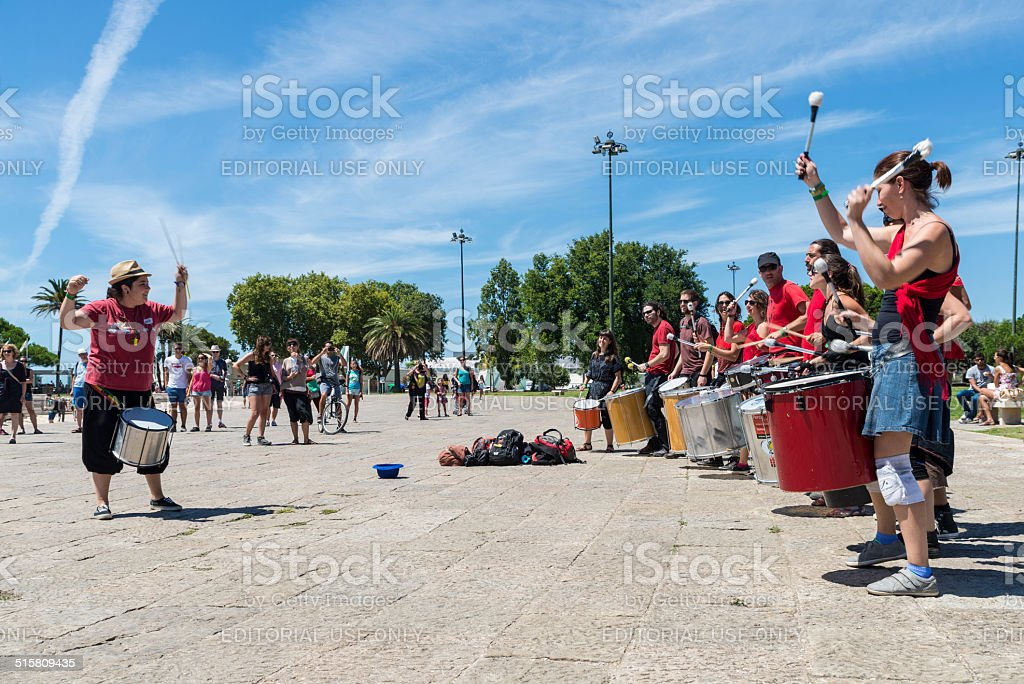 percussion band in Lisbon, Portugal stock photo