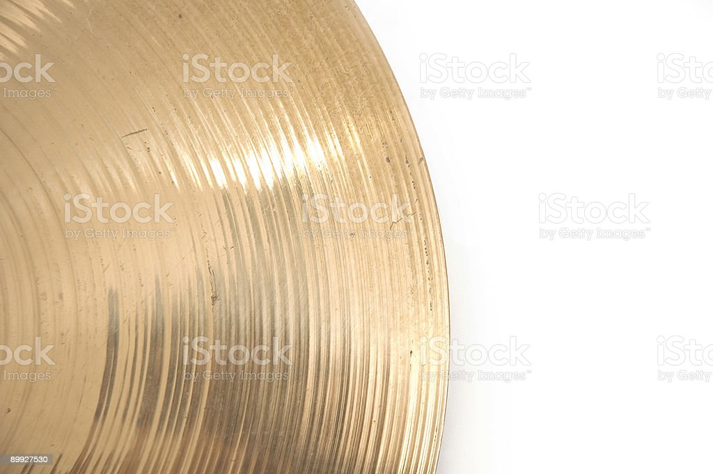 Percussion Music Instrument Cymbal on White Background royalty-free stock photo