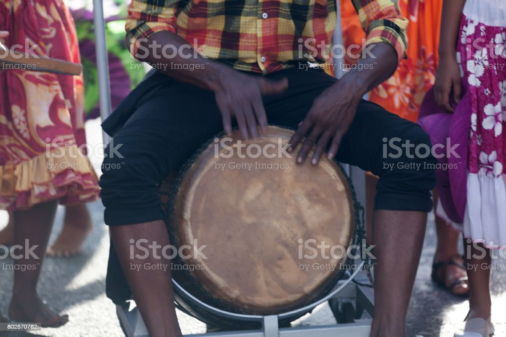 Percussionist playing with a roulér stock photo