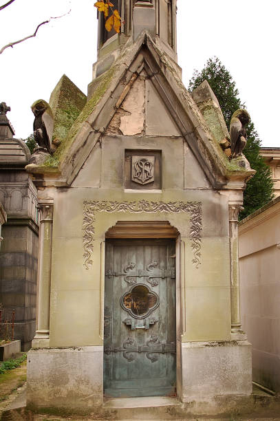 Pere Lachaise mausoleum stock photo