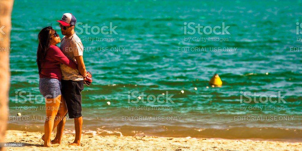 Praia do Perequê em dia de sol de Ilhabela, Brasil, - foto de acervo