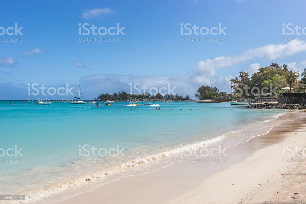 Pereybere Beach fishing boats, Mauritius stock photo