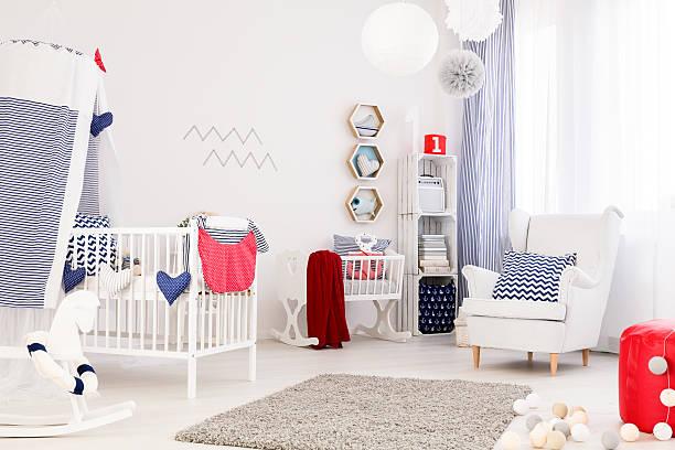 perfect baby room - marineblau schlafzimmer stock-fotos und bilder