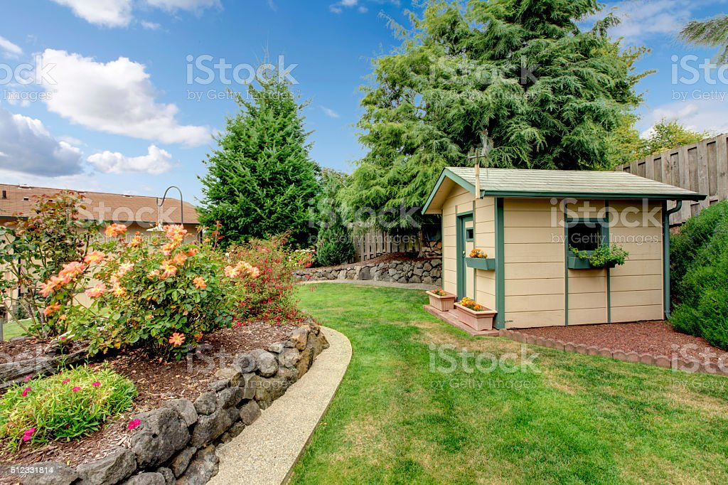 perfect back yard with garden. stock photo