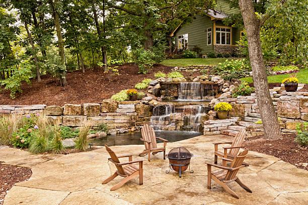 doskonałe podwórku krajobrazu - staw woda stojąca zdjęcia i obrazy z banku zdjęć