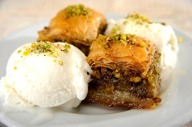 Perfect Baklava with Icecream stock photo