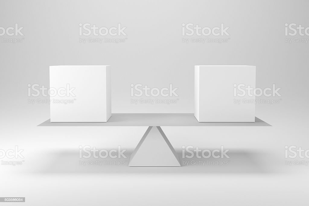 perfect balance between two white cubes conceptual illustration stock photo