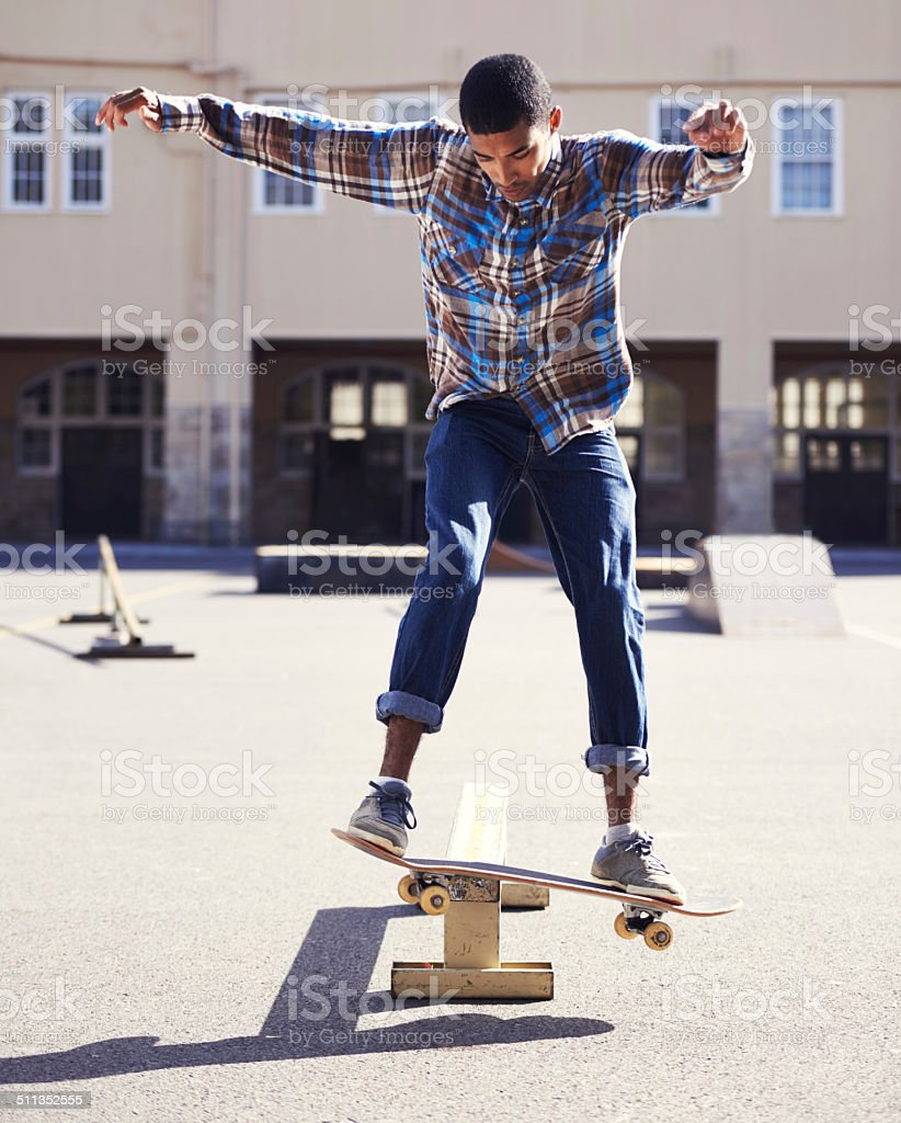 Perfect balance on the grind stock photo