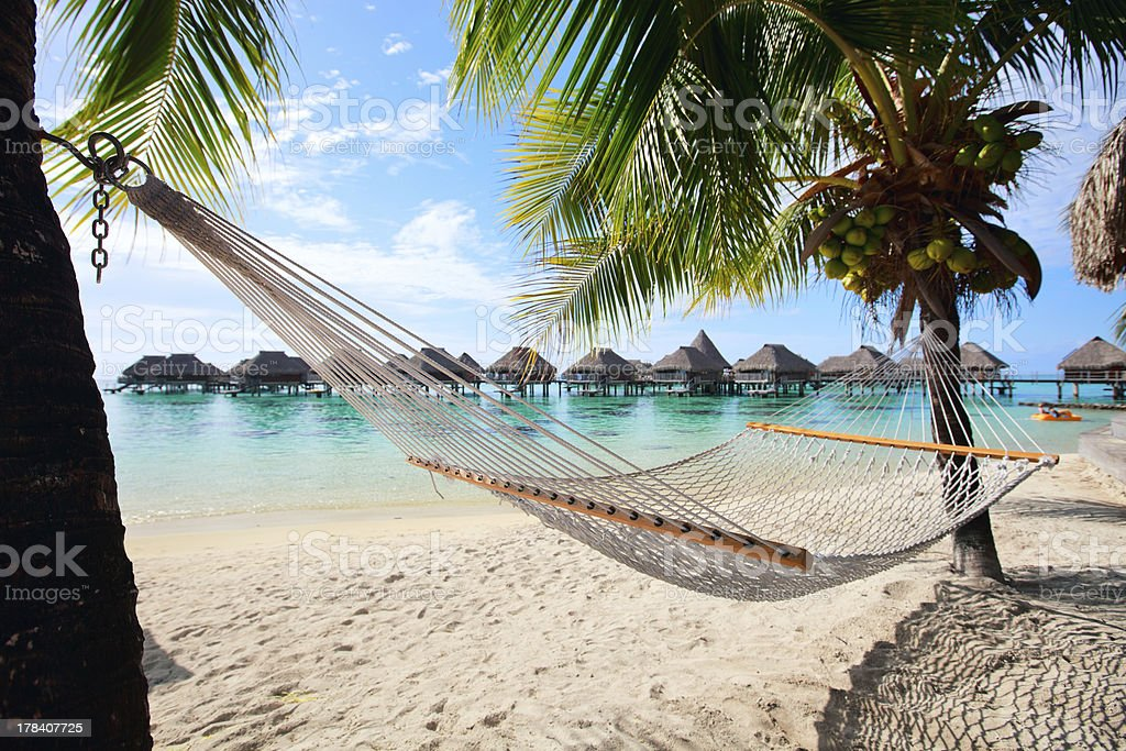 Perfect beach on Moorea stock photo