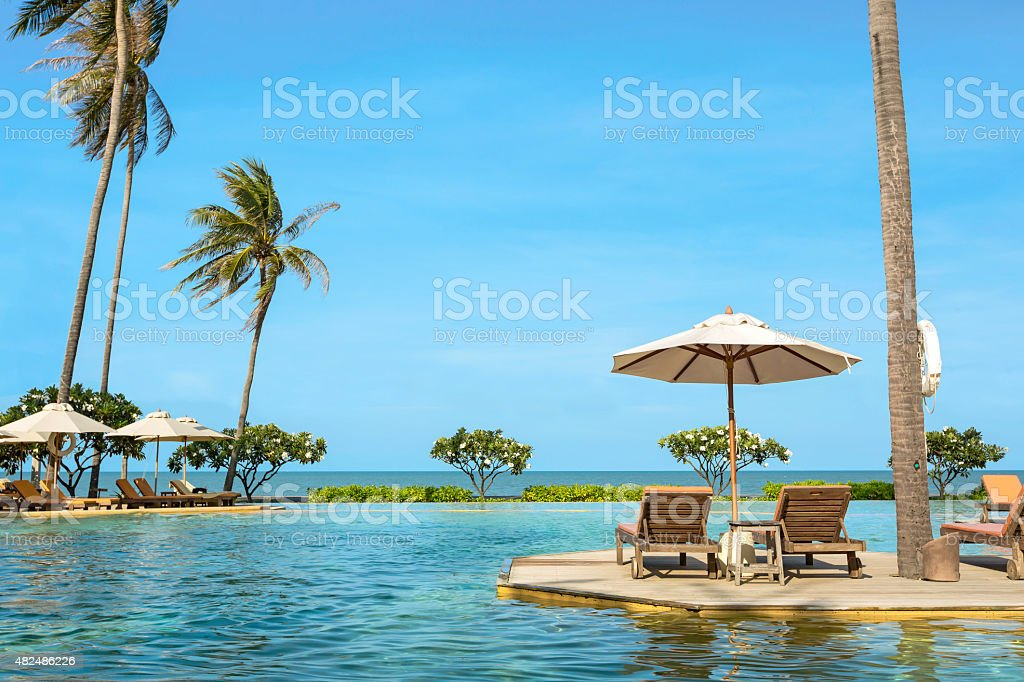 Perfect beach swimming pool with tropical resort relax. stock photo