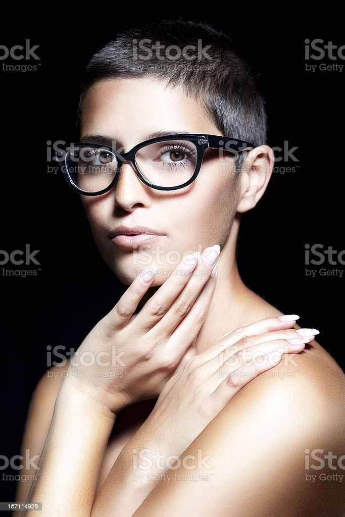Perfect Beauty - Young Natural Woman With Short Hair stock photo